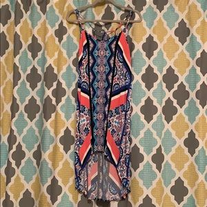 Patterned High-Low Summer Dress with Strap Details